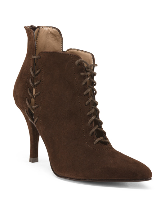 Made In Italy Heeled Suede Booties