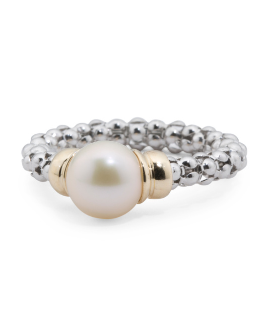 Made In Italy 14k Gold And Sterling Silver Pearl Ring