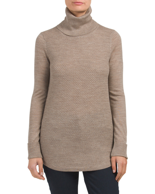Merino Wool Textured Front Sweater