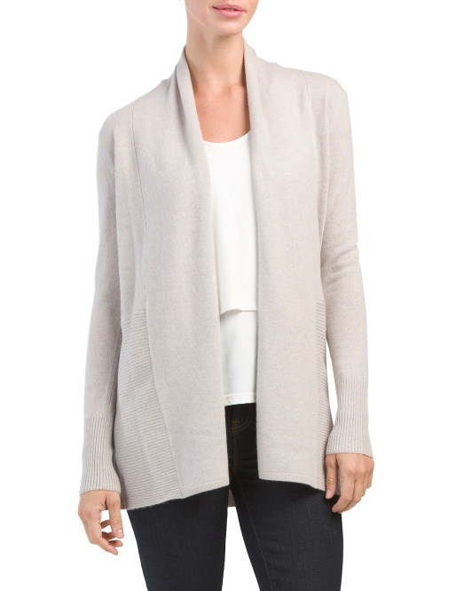 Cashmere Ribbed Bottom Long Cardigan
