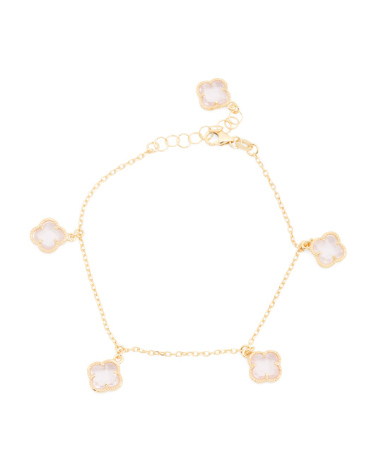 Made In Italy 14k Gold Rose Quartz Quatrefoil Bracelet