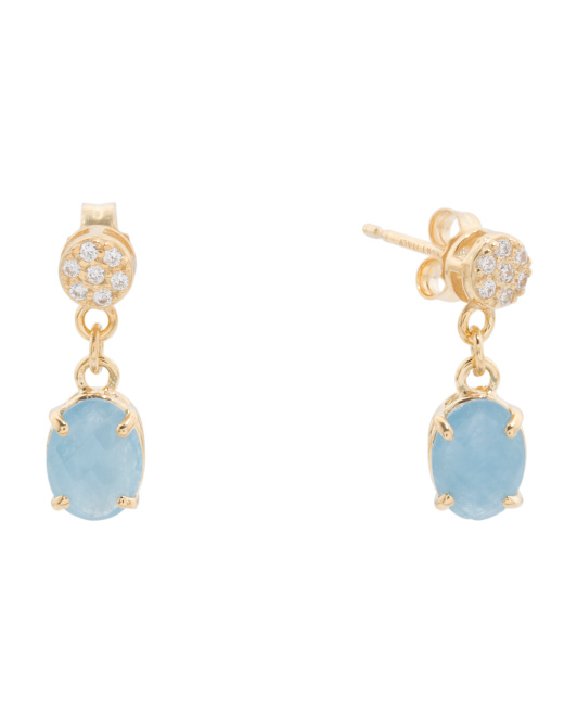 Made In Italy 14k Gold Round Pave Aquamarine Oval Earrings