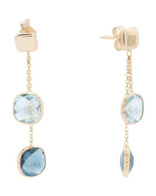 Made In Italy 14k Gold Blue Topaz Square Drop Earrings