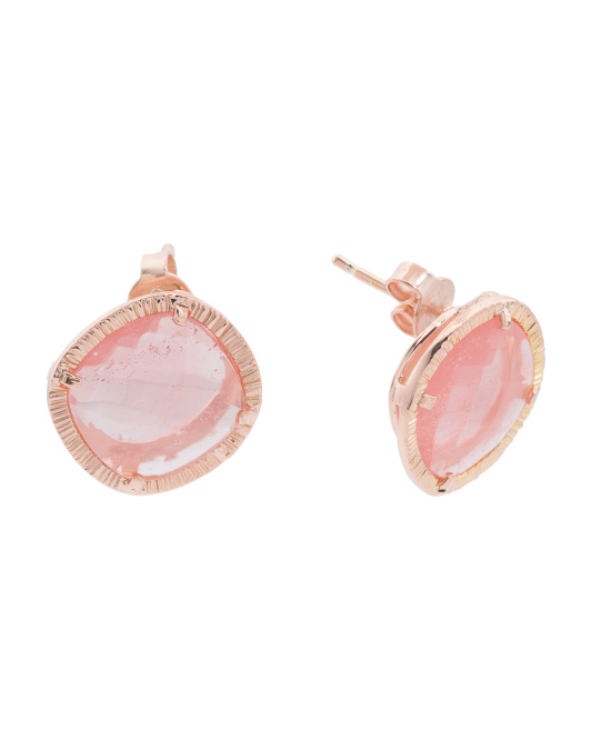 Made In Bali 14k Gold Plated Silver Cherry Quartz Stud Earrings