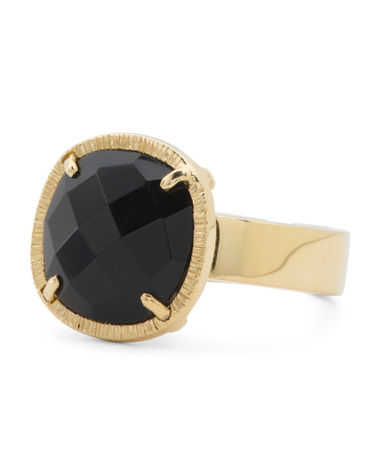 Made In Bali 14k Gold Plate Sterling Silver Black Onyx Ring