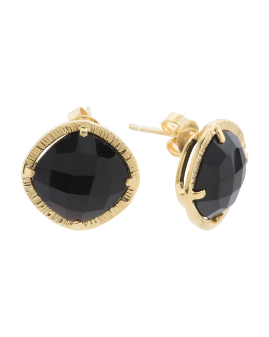 Made In Bali 14k Gold Plated Sterling Silver Onyx Stud Earrings