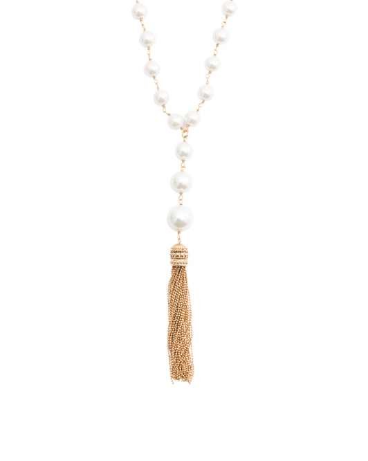 14k Gold Plated Pearl Tassel Necklace
