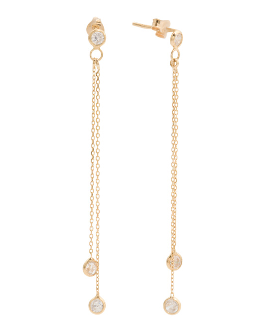 Made In Italy 14k Gold Cubic Zirconia Chain Earrings
