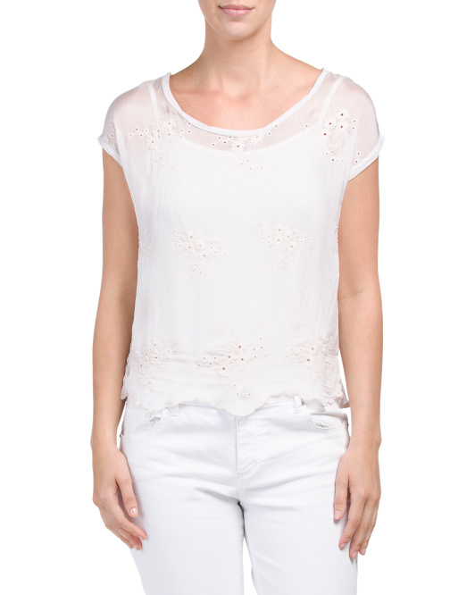 Made In Italy Silk Embroidered Top