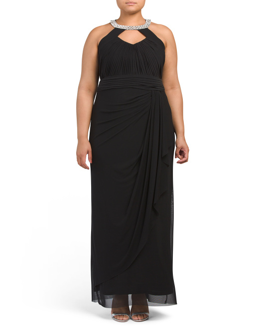Plus Shirred Gown With Keyhole Neck