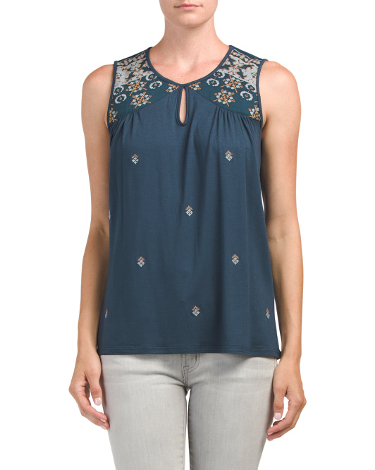 Embroidered Keyhole Tank
