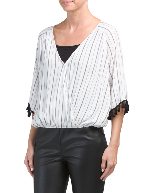Juniors Made In USA Striped Surplice Top