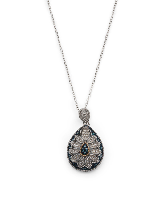 Made In India Sterling Silver And 14k Gold Blue Diamond Necklace