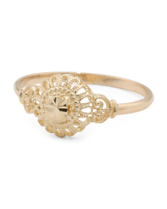 Made In Italy 14k Gold Filigree Round Ring