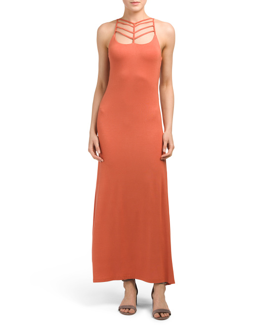 Juniors Ladder Strappy Neckline Maxi Dress