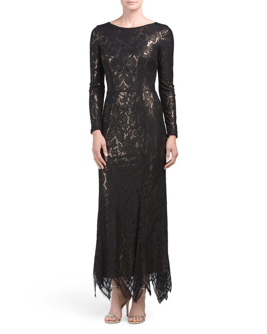 Long Sleeve Keyhole Lace Gown