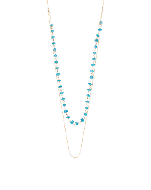 Made In USA 14k Gold Apatite Linked Frontal Necklace