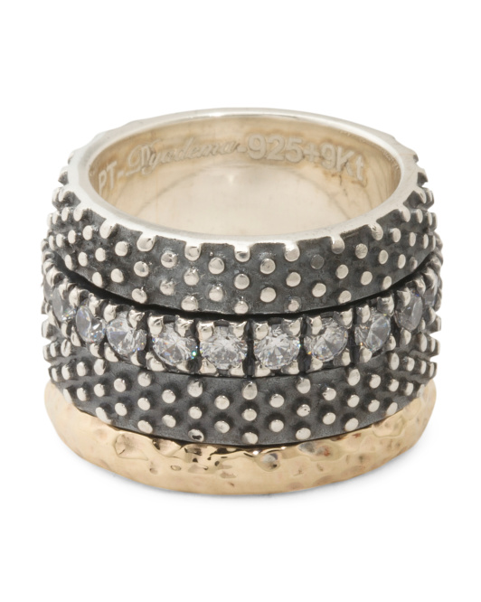 Made In Portugal Sterling Silver And 9k Gold CZ Spinner Ring