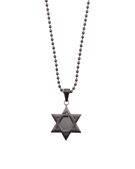 Men's Star Of David Pendant In Black