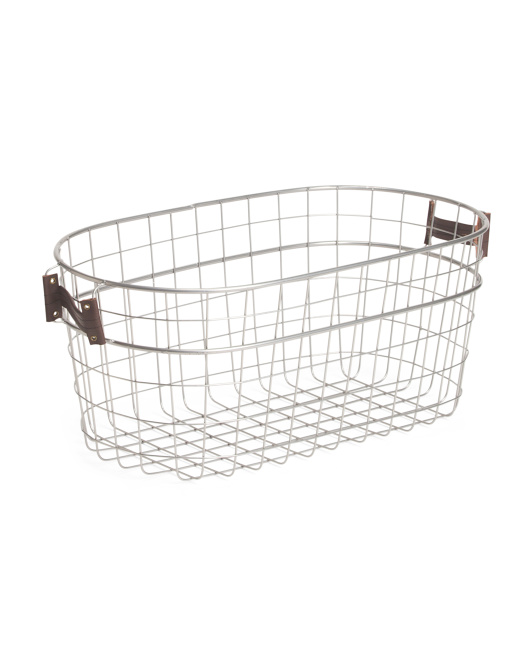 Storage Basket With Leather Handles
