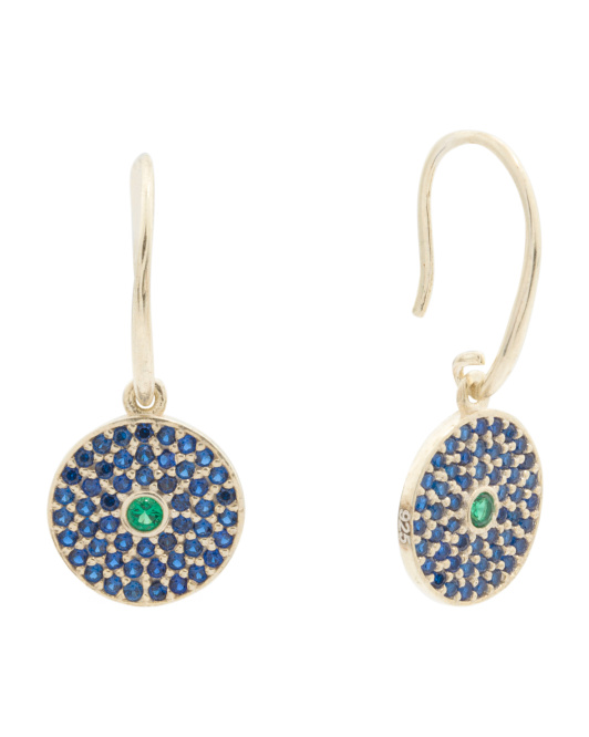 Made In Turkey Gold Plated Sterling Silver Evil Eye Drop Earrings