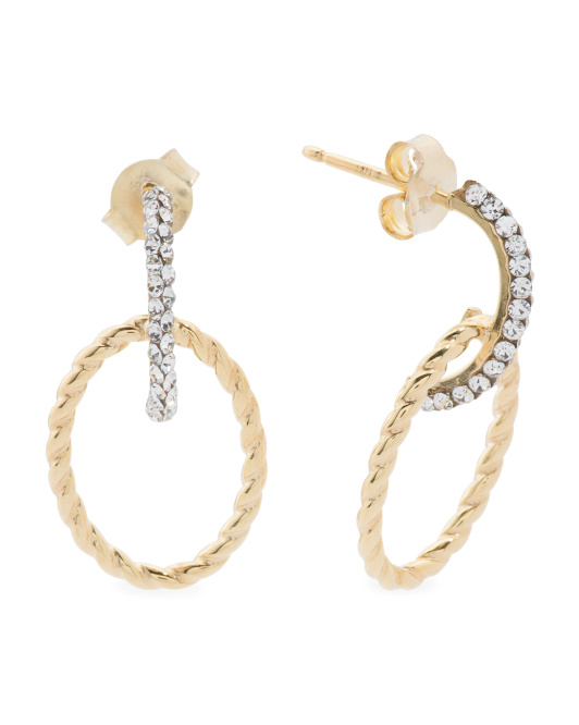 Made In Italy 14k Gold Cubic Zirconia Twisted Oval Bar Earrings