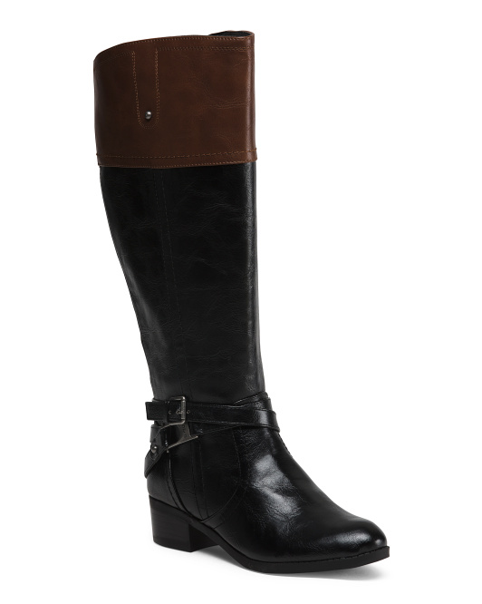 Wide Calf Leather Two Tone Boots