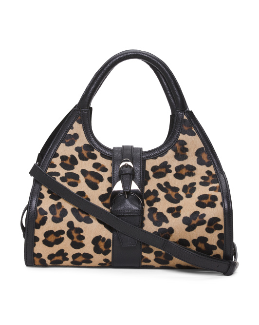 Made In Italy Leather & Haircalf Leopard Print Satchel