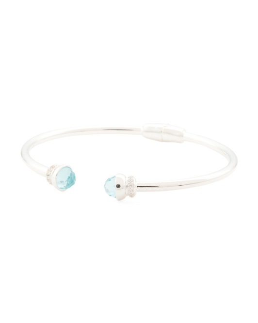 Made In Italy Sterling Silver Blue Topaz Glass Cuff Bracelet