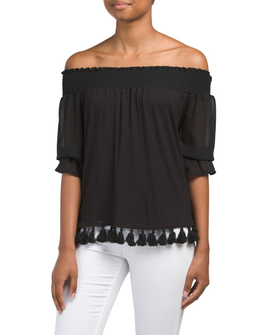 Made In USA Off The Shoulder Tassel Trim Top