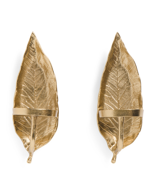 Made In India Set Of 2 Leaf Wall Sconces