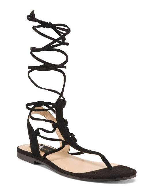 Lace Up Suede Sandals