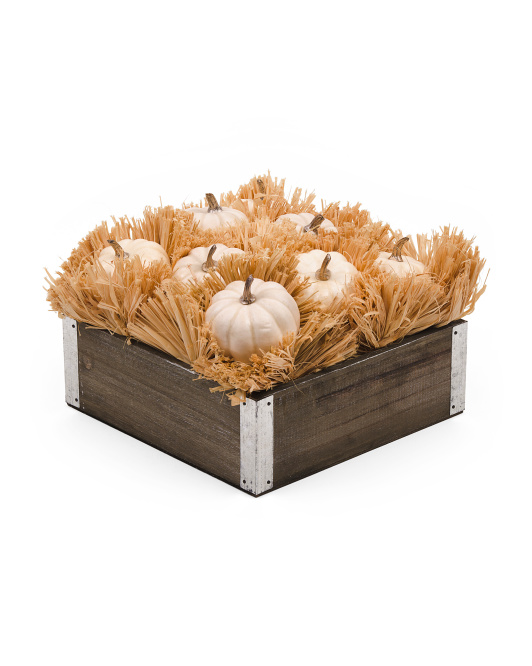 10in Pumpkin & Raffia In Wood Pot