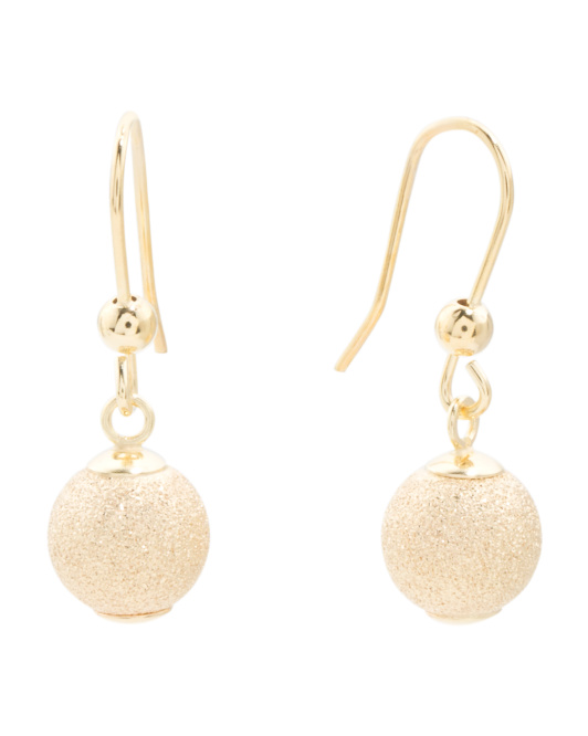 Made In Italy 14k Gold Sparkle Ball Drop Earrings