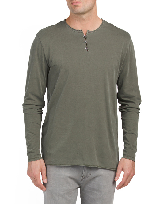 Long Sleeve Pigment Dyed Henley