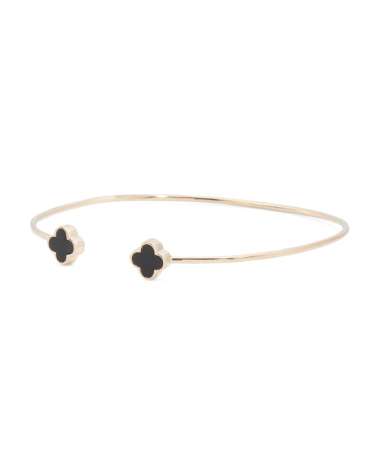 Made In USA 14k Gold Clover Flexible Onyx Bangle Bracelet