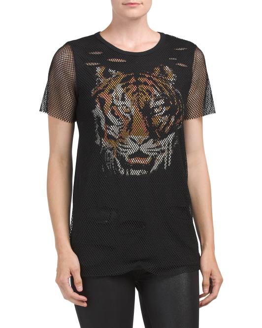 Juniors Athletic Mesh Two-fer Tee