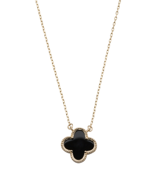 Made In USA 14k Gold Onyx Clover Necklace
