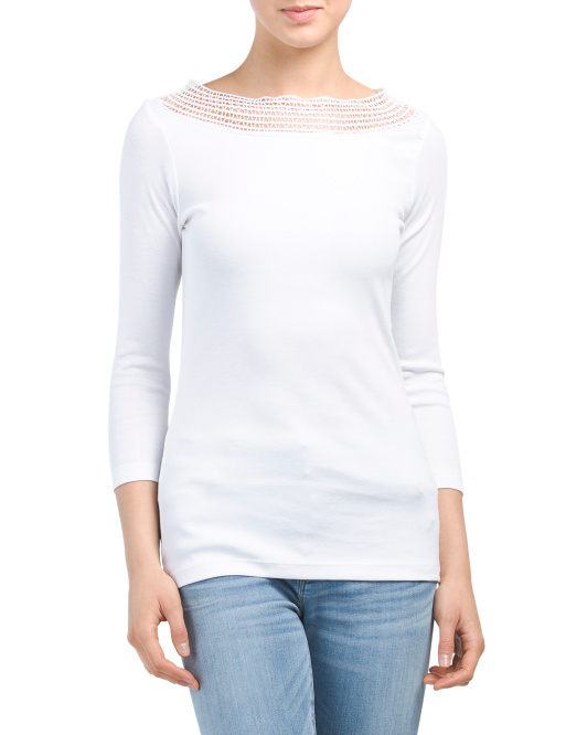 Embroidered Boat Neck Knit Top