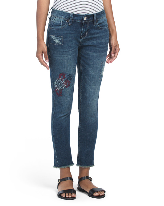Patchwork Ankle Skinny Jeans