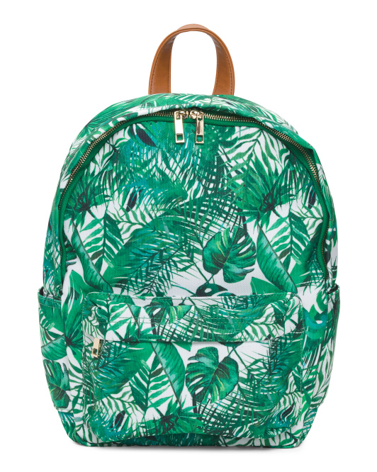 Palm Printed Canvas Backpack