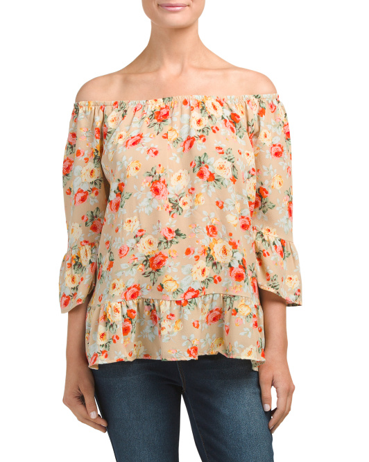 Made In USA Off The Shoulder Floral Top