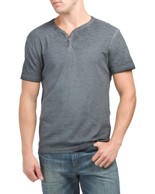 Short Sleeve Pigment Dyed Henley Top
