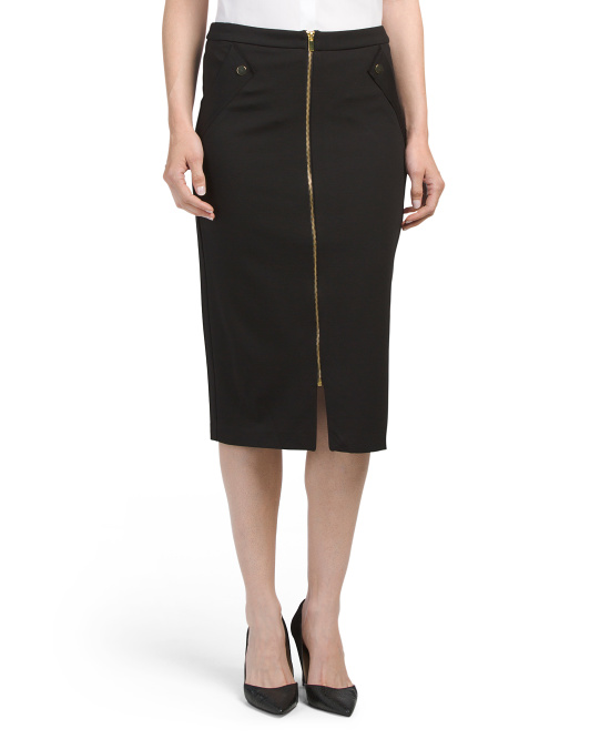 Midi Skirt With Front Zipper