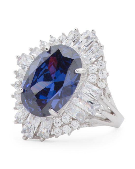 Sterling Silver Tanzanite And Cubic Zirconia Baguette Ring