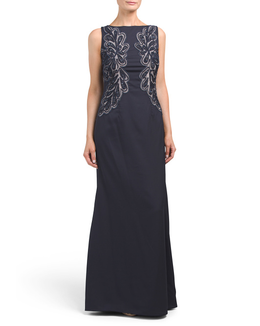 Sleeveless Gown With Embroidered Detail