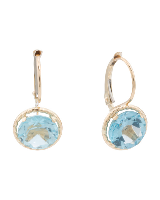 Made In Usa 14k Gold Blue Topaz Drop Earrings