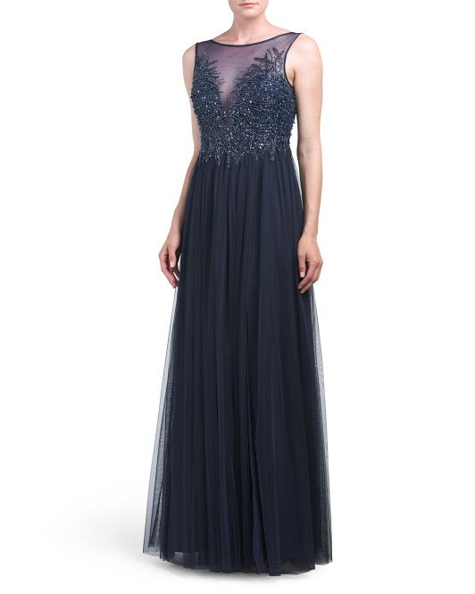 Sheer Illusion Beaded Bodice Gown
