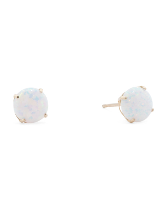 14k Gold 6mm Opal Stud Earrings