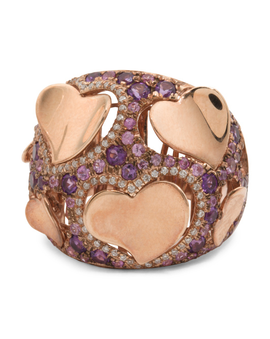 14k Rose Gold Pink Sapphire Amethyst And Diamond Ring